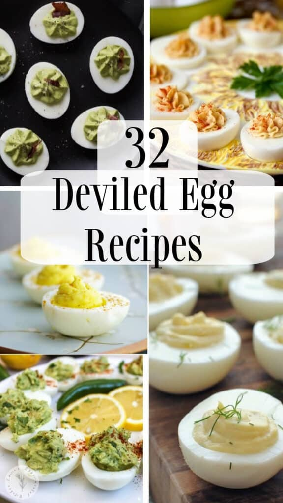 Round up post on 32 Deviled Egg Recipes