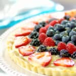 Berry Tart on a cake stand