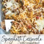 Spaghetti Casserole made with your favorite marinara sauce, lean ground beef, mushrooms and shredded Mozzarella cheese is a deliciously quick and easy weeknight meal.