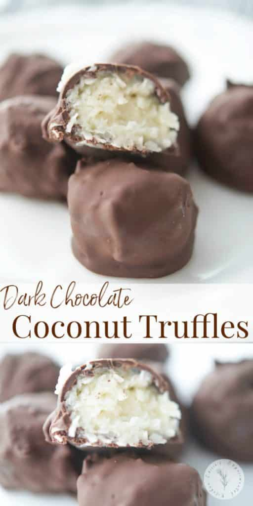 Coconut truffles made with coconut flakes and sweetened condensed milk; then dipped in melted dark chocolate make a tasty treat!