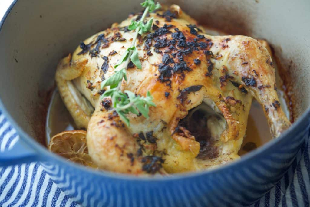 Dutch Oven Whole Roasted Greek Chicken