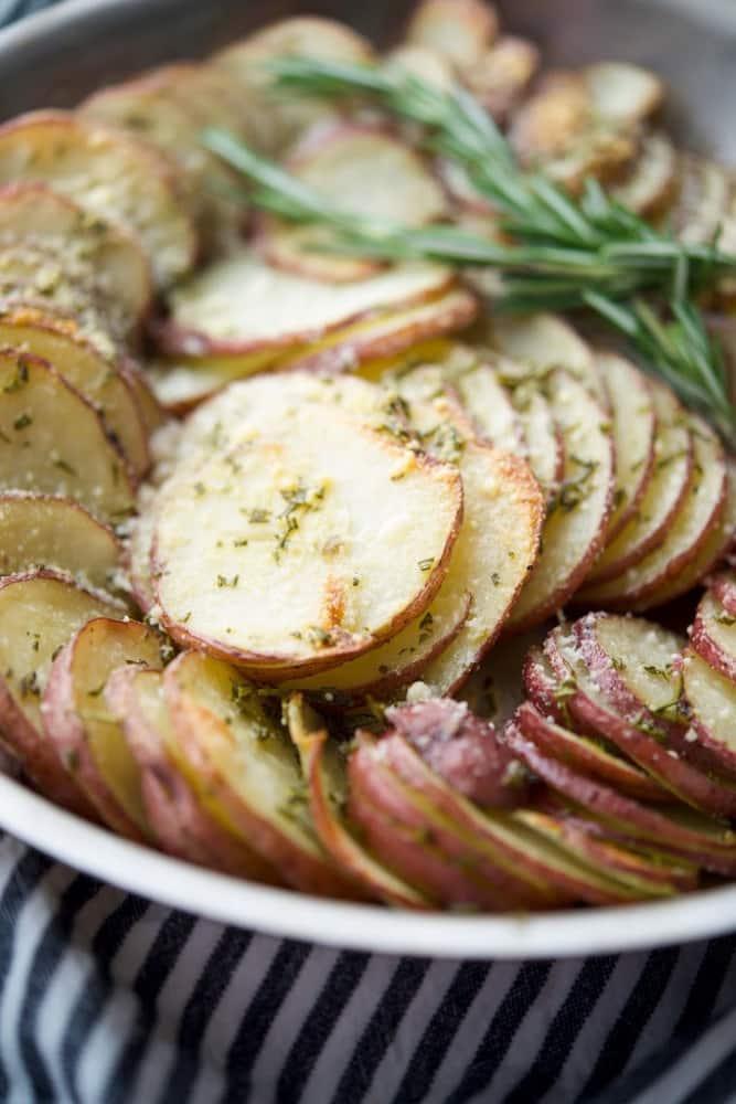 Parmesan Crusted Potato Gratin in Skillet