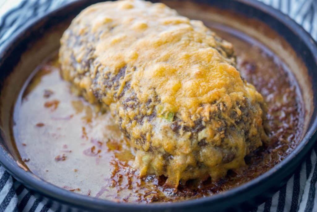 Cheesy Meatloaf in baking dish horizontal