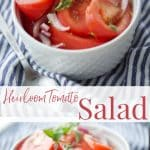 This simple to make Heirloom Tomato Salad made with fresh oregano and onion in a white vinaigrette is one of my favorite recipes.