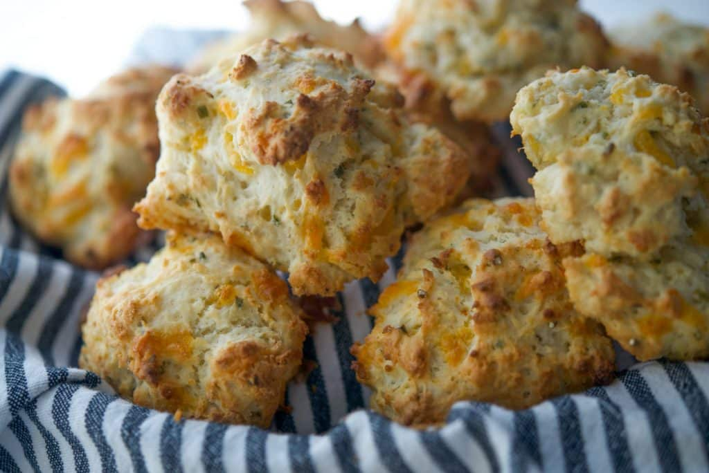 Sour Cream and Chive Drop Biscuits in basket