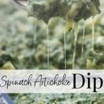 Spinach Artichoke Dip made with artichoke hearts, chopped spinach, and garlic in a cheesy sauce makes a tasty dip or topping for homemade pizza.