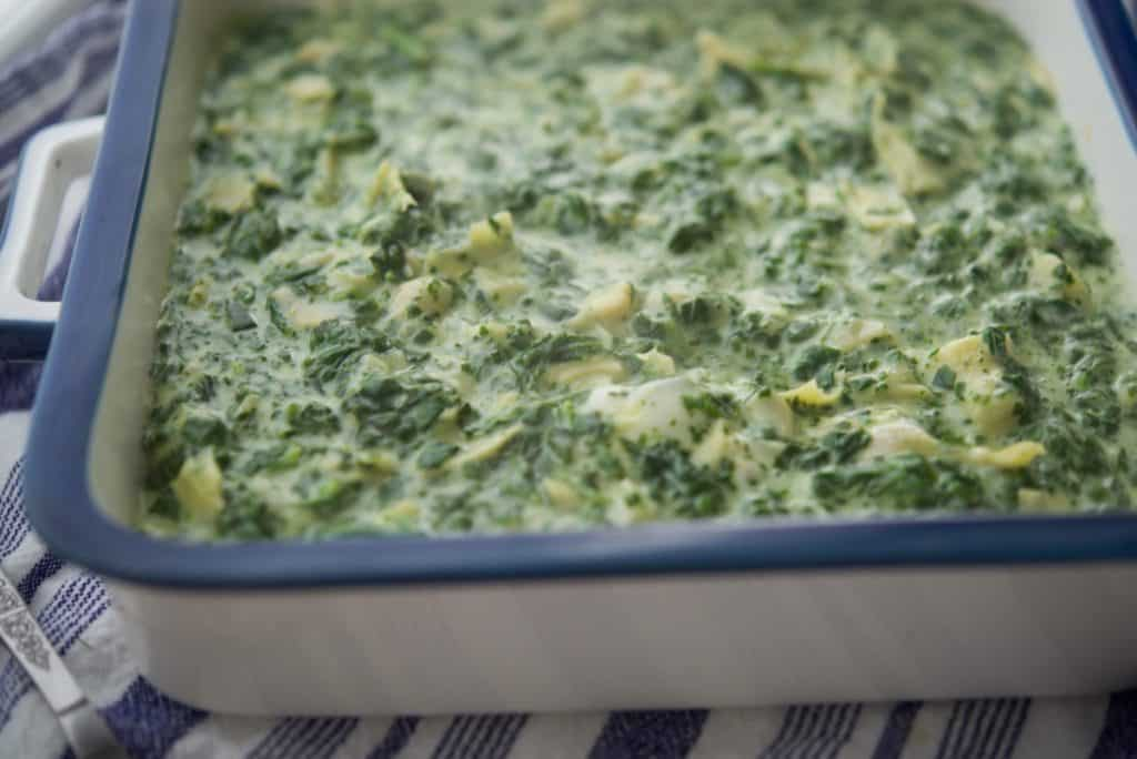 Spinach Artichoke Dip in a serving dish