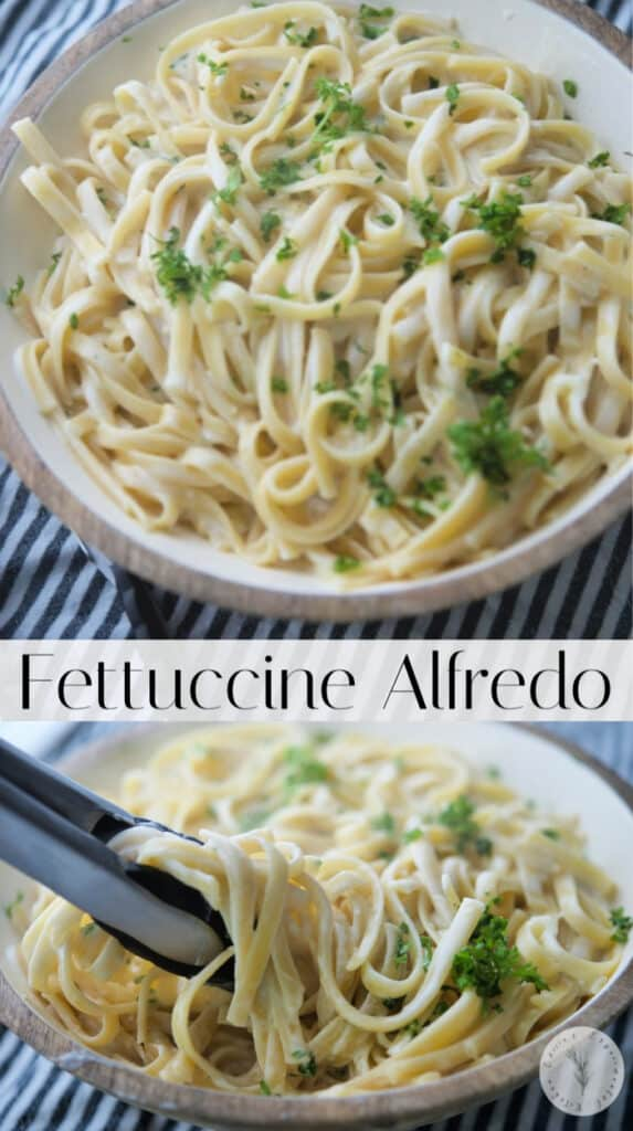 Fettuccine pasta tossed with a creamy alfredo sauce made with butter, garlic, cream and grated Pecorino Romano cheese is a tasty, quick weeknight meal.
