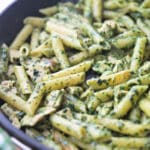 Pesto Chicken Pasta made in a skillet.