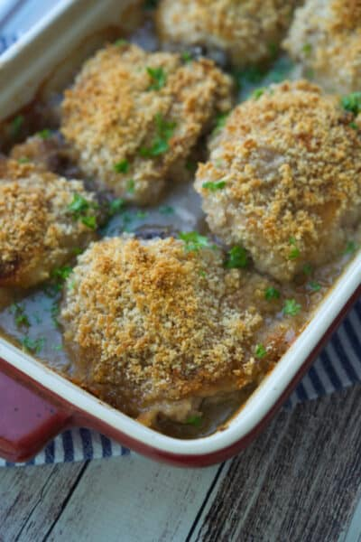 Chicken Vermont made with chicken thighs dipped in maple syrup, seasonings, coated with panko breadcrumbs; then baked in apple cider.