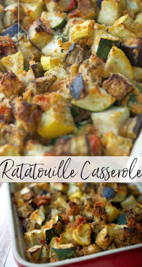 Ratatouille Casserole made with eggplant, squash, tomatoes, mushrooms and onions tossed with grated Pecorino Romano cheese and breadcrumbs.