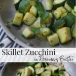 Fresh garden zucchini squash sautéed in a skillet on top of the stove in rosemary butter is a tasty, quick vegetable side dish.