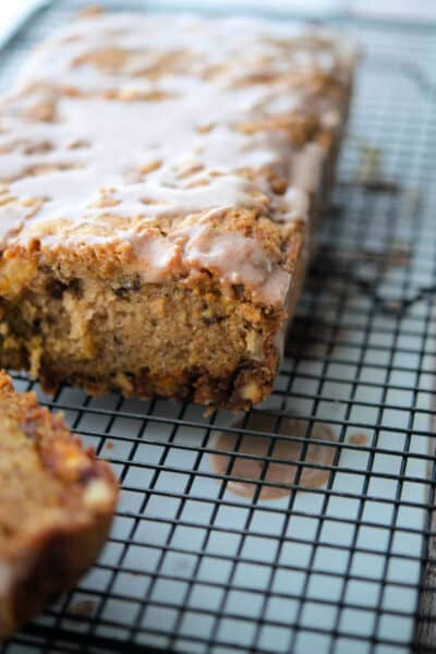 This Cinnamon Chip Apple Bread is loaded with diced McIntosh apples, sweet cinnamon chips and chopped pecans.