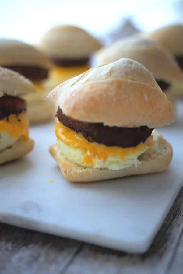Starbuck's Impossible Breakfast Sandwich made with a vegetable based sausage patty, egg and cheese on a Ciabatta roll.