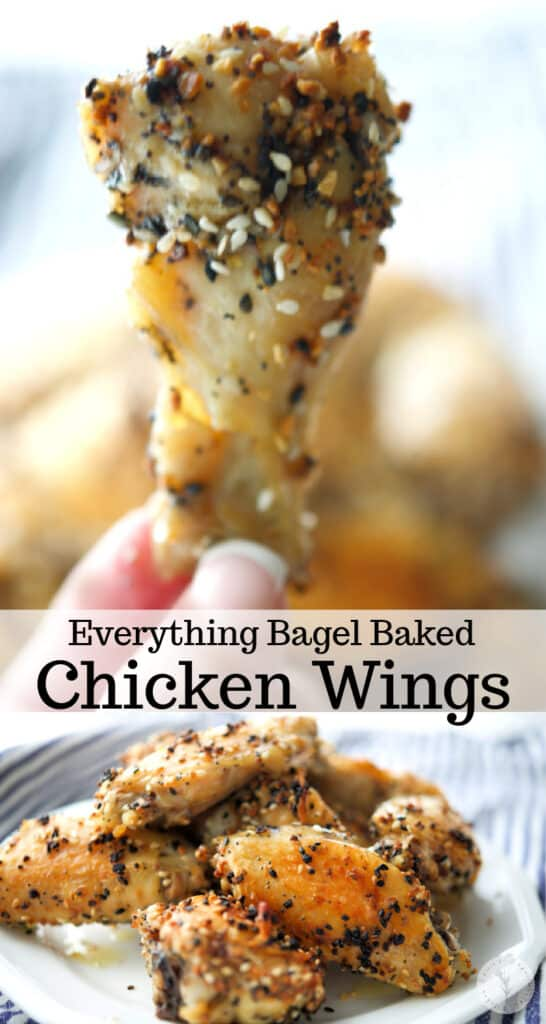 These three ingredient chicken wings coated with a dry rub of Everything Bagel seasoning are baked in the oven, super crispy and delicious!