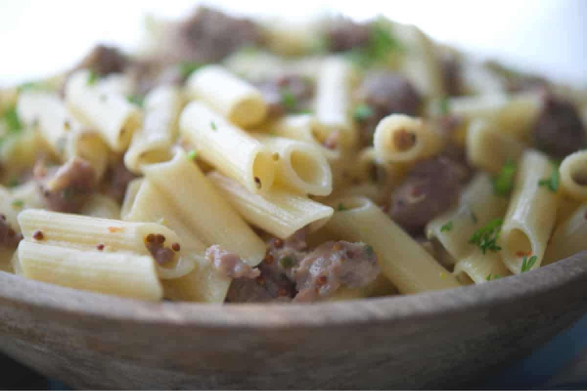 Pasta with Sausage in a Mustard Cream Sauce