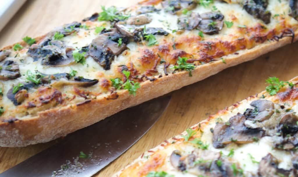Roasted Garlic and Mushroom French Bread Pizza