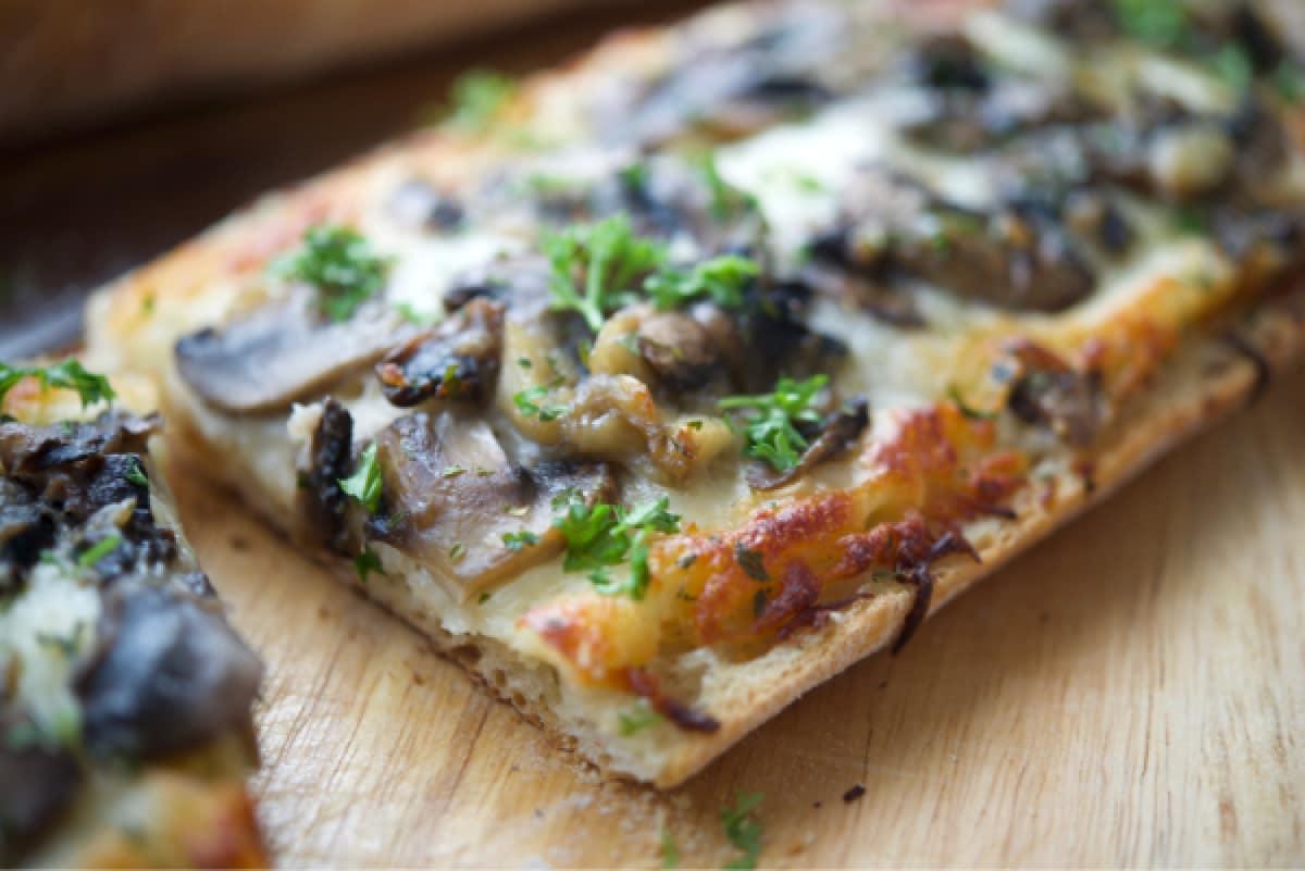 Roasted Garlic Mushroom French Bread Pizza