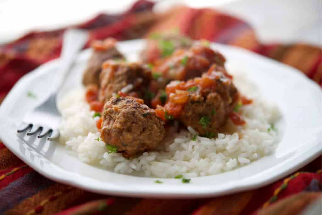 Mexican Meatballs on a white plate