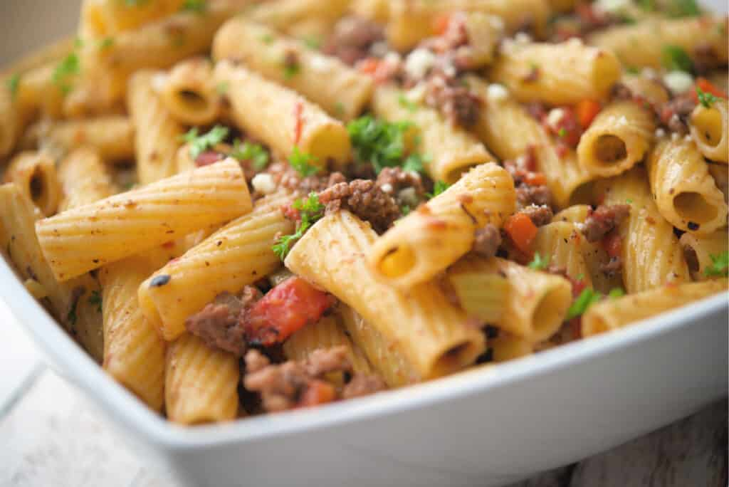 Rigatoni with Italian Meat Sauce