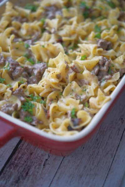Bacon Cheeseburger Casserole made with lean ground beef and egg noodles in a creamy bacon cheese sauce is sure to please.
