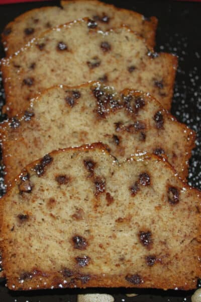 This Banana Chocolate Chip Bread recipe is a long time family favorite and makes a tasty breakfast or afternoon snack.