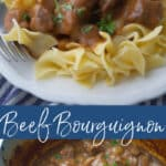 Beef Bourguignon made with beef cubes, pearl onions and mushrooms in a Cognac, red wine brown gravy is comfort food at its best.