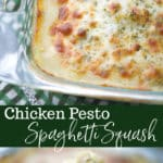 This short cut Chicken Pesto Spaghetti Squash can be ready in 30 minutes for a quick, delicious weeknight meal!
