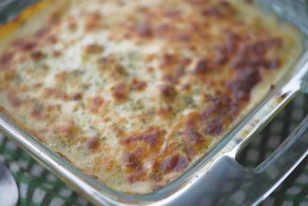 Chicken Pesto Spaghetti Squash cooked