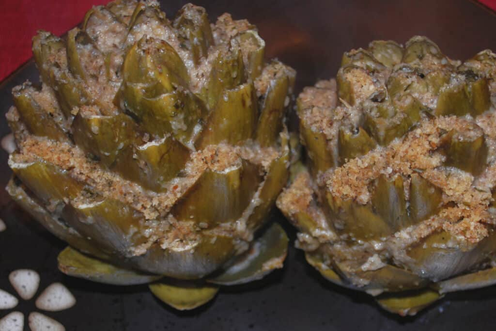 Stuffed Artichoke after cooking