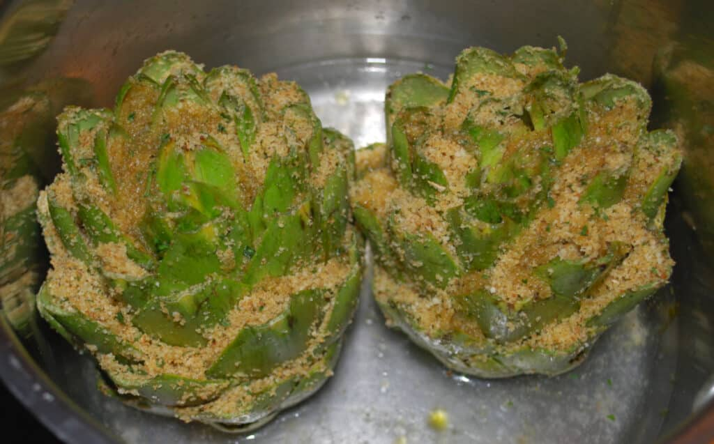 Stuffed Artichoke before cooking