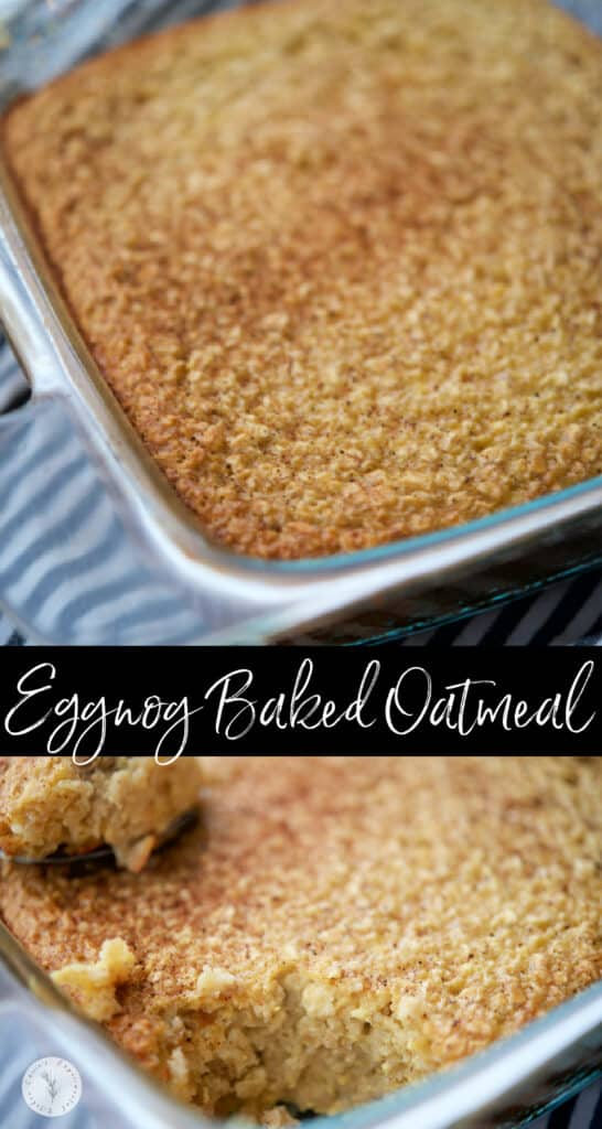 This Eggnog Baked Oatmeal made with five simple ingredients is perfect when feeding a crowd and a festive way to eat breakfast!
