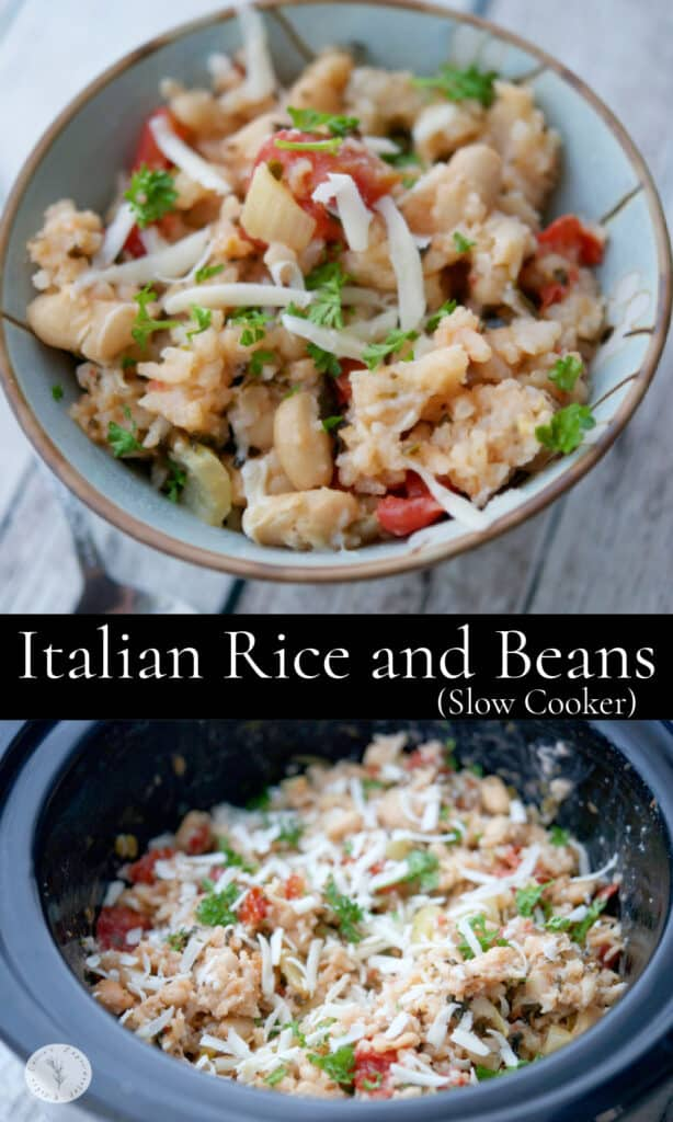 Italian Beans and Rice made in the slow cooker with Cannellini beans, fire roasted tomatoes, fennel and pesto.