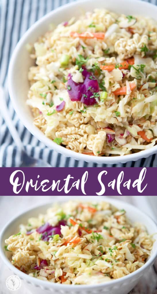 This classic Oriental Salad made with Ramen noodles, cabbage, carrots and almonds is super flavor and a favorite at every gathering.