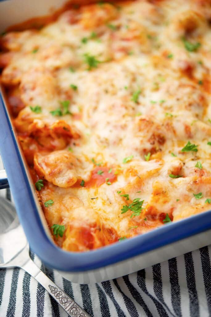 If you're looking for a super easy weeknight meal, this Tortellini Bake made with frozen cheese tortellini will be your new favorite.