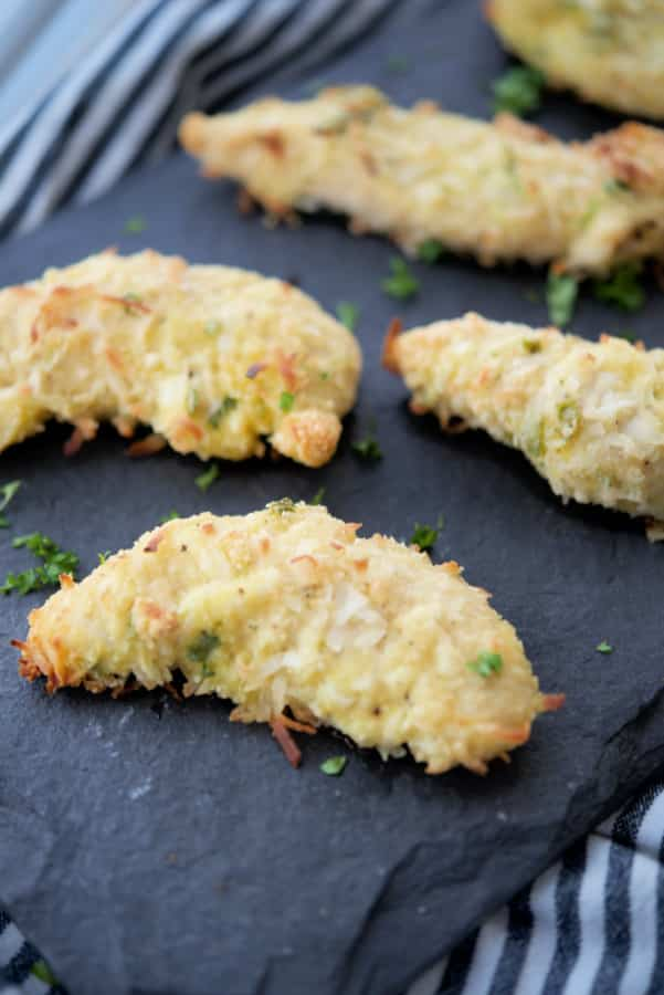 Baked Coconut Chicken Tenders made chicken tenderloins, flaky coconut flakes and coconut flour are delicious, easy and gluten free.