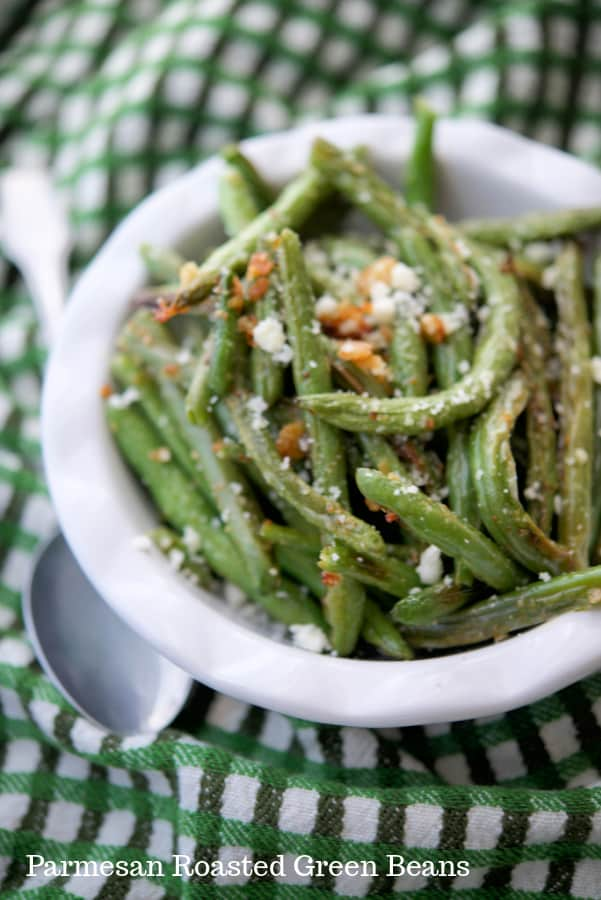 Parmesan Roasted Green Beans contain only three ingredients, are deliciously flavorful and make the perfect accompaniment to any meal.
