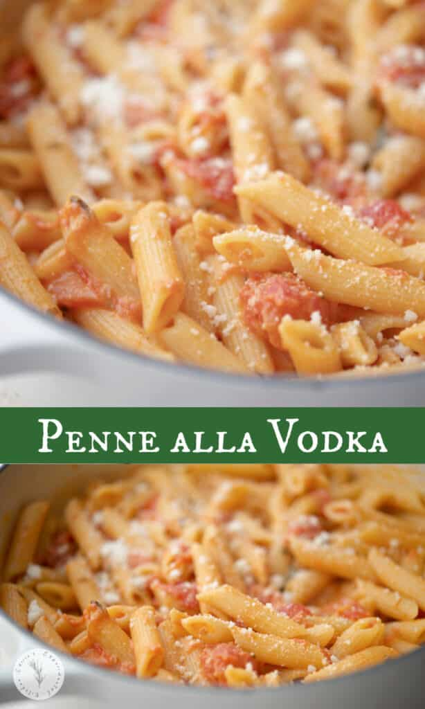 Penne alla Vodka made with a creamy, vodka tomato sauce is one of our favorite recipes to make during family gatherings.