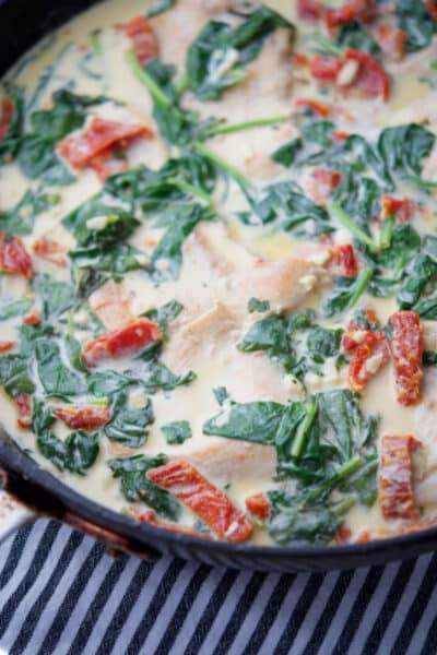 Creamy Tuscan Chicken in a skillet