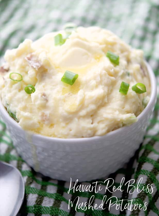 Red bliss mashed potatoes combined with creamy Havarti cheese, butter, sour cream and scallions is a delicious side dish with any meal.