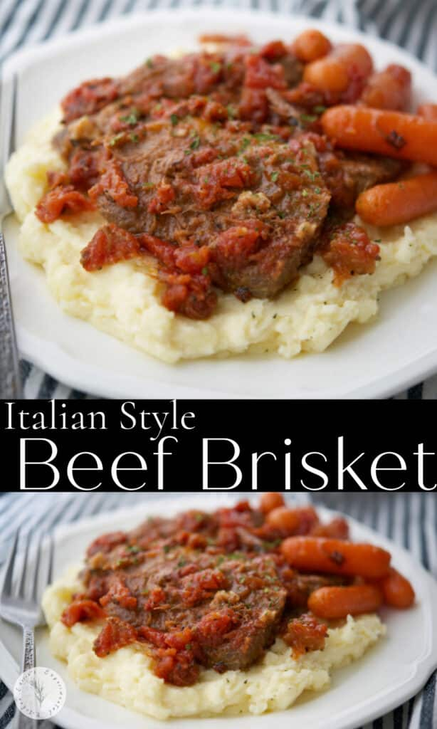 Oven roasted beef brisket made Italian style with oregano, garlic and fire roasted tomatoes makes a tasty, comforting family meal.