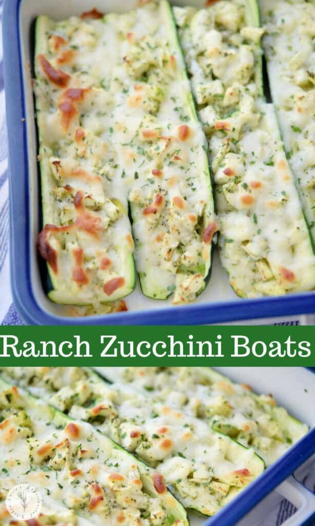 Ranch Zucchini Boats are stuffed with chopped fresh zucchini, garlic, Ranch seasoning, EVOO and shredded Mozzarella cheese.