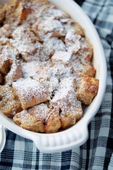 Tiramisu Breakfast Casserole for two in a white oven safe baking dish.