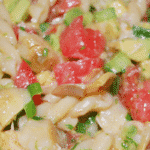 Pasta combined with fresh avocado, tomatoes, and artichoke hearts; then tossed in a light Cilantro Lime Vinaigrette.