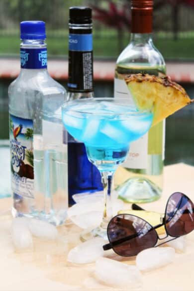 This cool and refreshing Blue White Wine Spritzer made with four ingredients will be your new favorite Summertime patriotic drink.