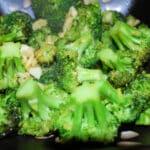 Broccoli with roasted garlic and lemon zest.