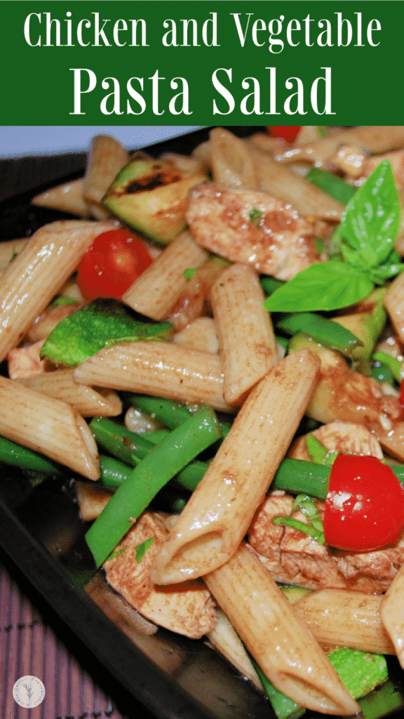 This cold penne pasta salad tossed with chicken grilled vegetables in a light balsamic vinaigrette is one of our favorite warm weather meals.