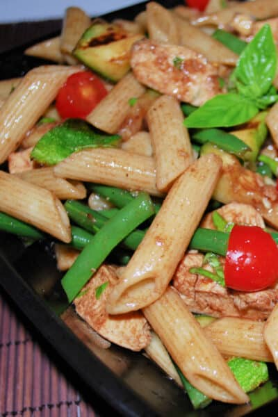 Cold Chicken and Grilled Vegetable Pasta Salad in a Balsamic Vinaigrette