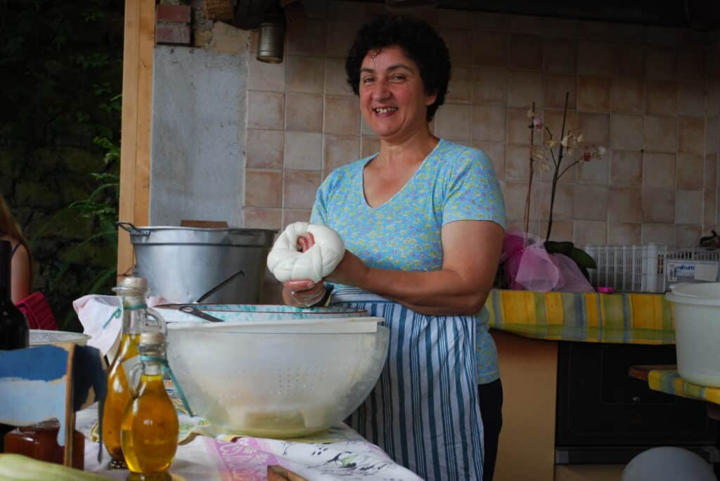 Making Fresh Mozzarella in Sorrento Italy