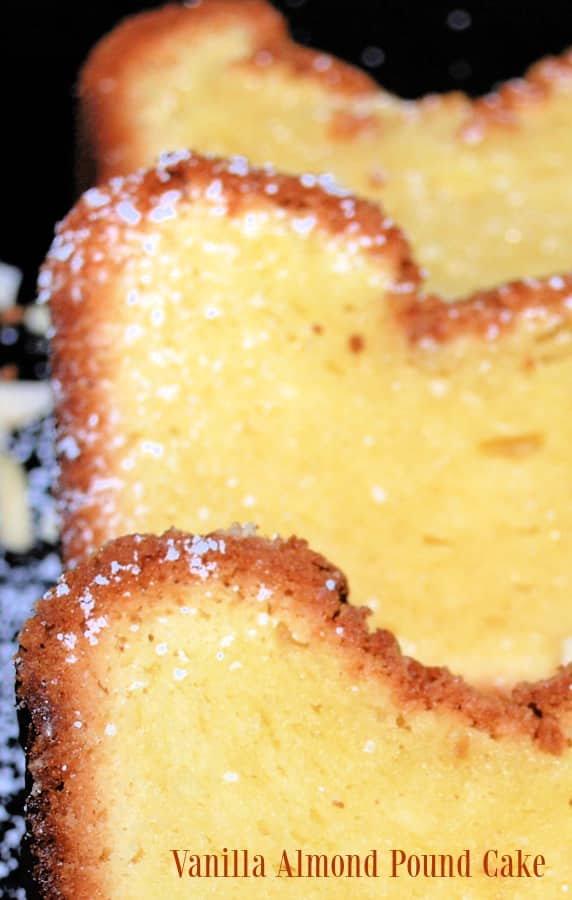Vanilla Almond Pound Cake made with cream cheese, butter, almond extract and vanilla pudding is super moist and delicious.